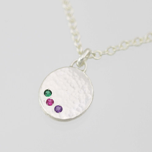 Hammered Chunk Necklace with Birthstones in Sterling Silver