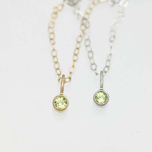 Peridot Drop Necklace 3mm in 14k Gold