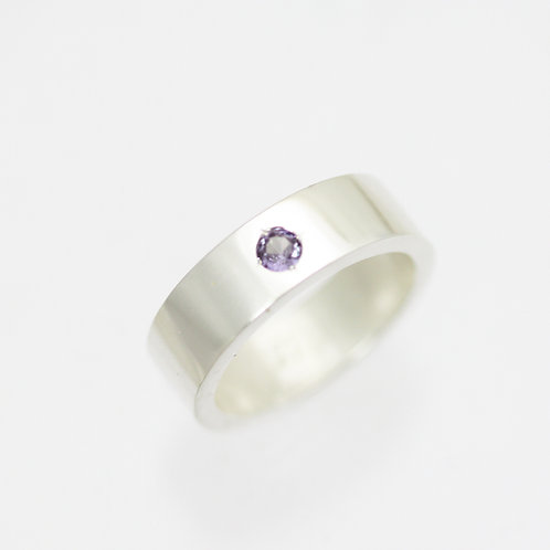 1 Stone Mother's Ring 6mm in Sterling Silver