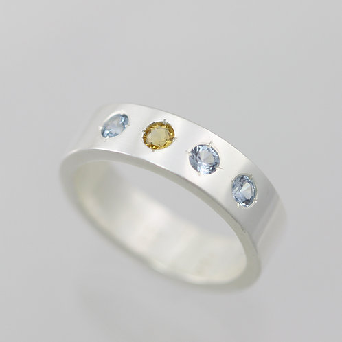 4 Stone Mother's Ring 6mm in Sterling Silver