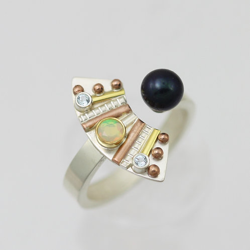 Totem with 3 Stones Split Ring with Opal, Topaz, & Pearl