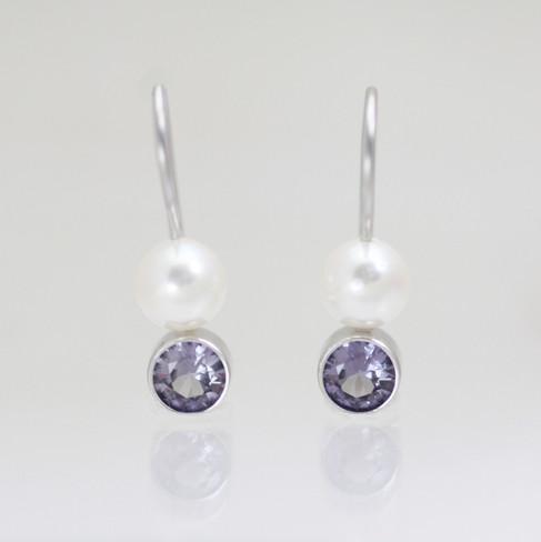 Custom Pearl Drop Earrings with 5mm Birthstone