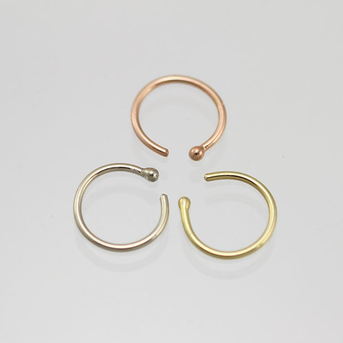 14k Gold Nose Ring available in yellow, white, or rose gold