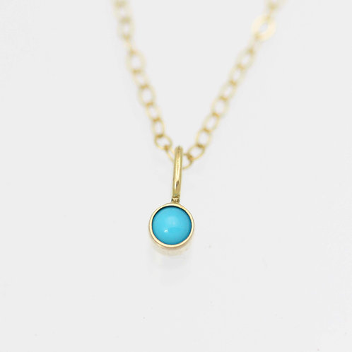 Turquoise Drop Necklace 3mm in 14ky Gold