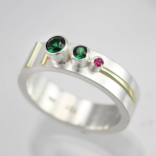 3 Stone Sequence Mother's Ring in Sterling Silver and 14ky Gold