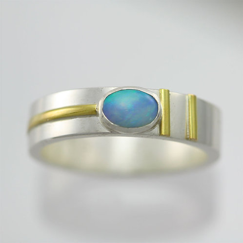 Oval Cabochon Ring with Stripes