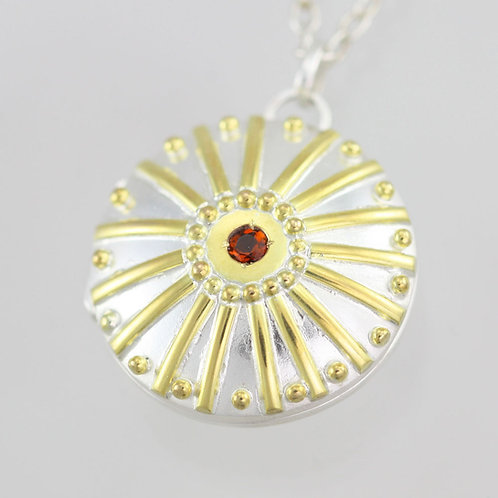 Sunburst Locket with Fire Citrine in sterling silver & 14ky Gold (Lrg.)