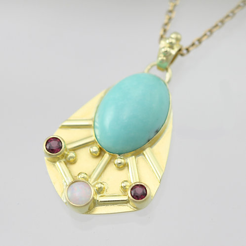 Oval Mexican Turquoise Byzantine Necklace w-3 Stones (Opal, Rhodolite Garnet) in