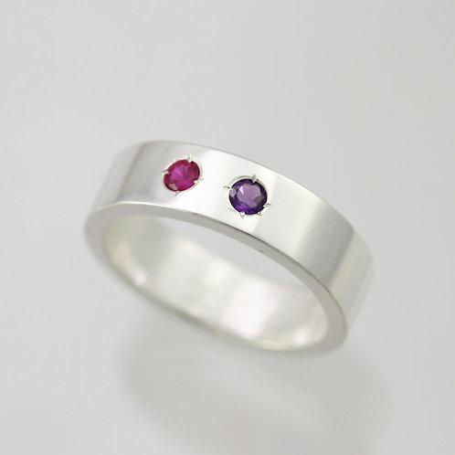 2 Stone Mother's Ring 6mm in Sterling Silver