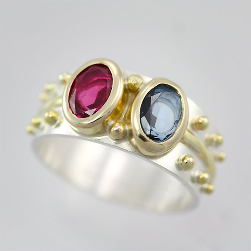 2 Stone Oval Wrap Ring in Sterling Silver & 14ky Gold