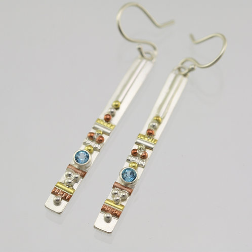 Totem Earrings with Blue Topaz in Sterling Silver, 14ky Gold, & Copper