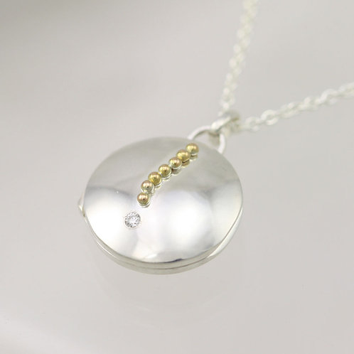 Falling Star Locket with Diamond in Sterling Silver & 14ky Gold