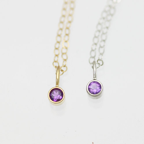 Amethyst Drop Necklace 3mm in 14k Gold
