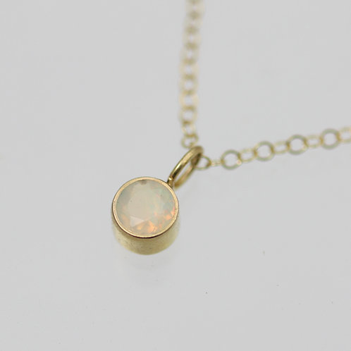 Ethiopian Opal Drop Necklace 5mm in 14ky Gold or Sterling Silver