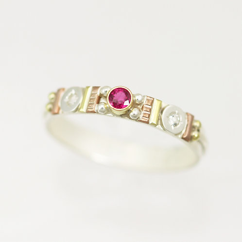 Totem Stacking Ring with Ruby & White Topaz