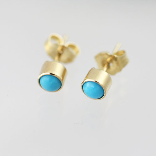 Turquoise Drop Studs 4mm in 14ky Gold