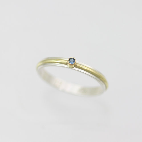 1 Stone Wrap Ring with 2mm Birthstone in sterling silver and 14ky