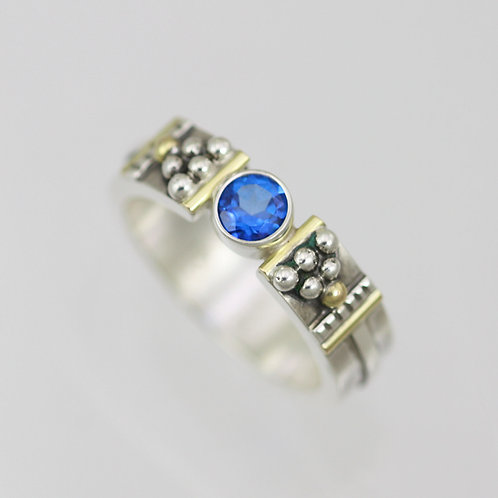 Totem Tension Ring with Ice Blue Topaz in Sterling Silver & 14ky Gold