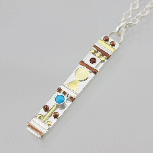 Totem Necklace with Turquoise and Garnet