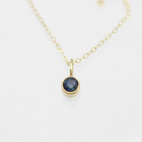 Sapphire Drop Necklace 4mm in 14ky Gold