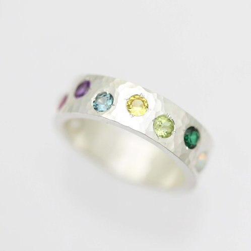 6mm Hammered Birthstone Mother's Ring in Sterling Silver