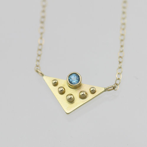 Triangle with 5 Dots and Blue Topaz in 14ky Gold