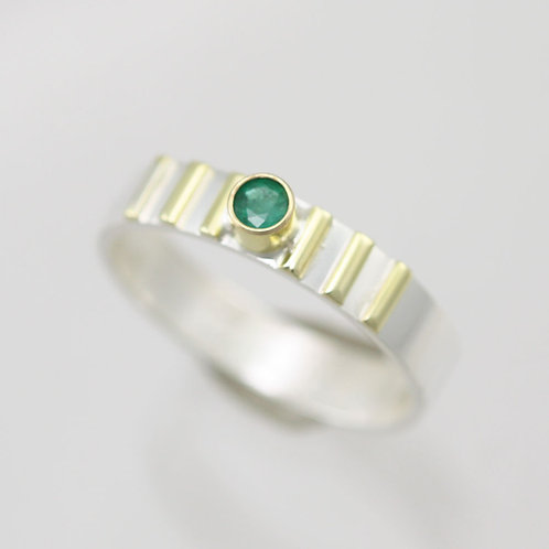 1 Stone w-6 Lines Ring & 3mm Birthstone in sterling silver and 14ky