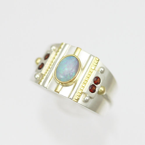 Oval Totem Ring with Opal & Garnet