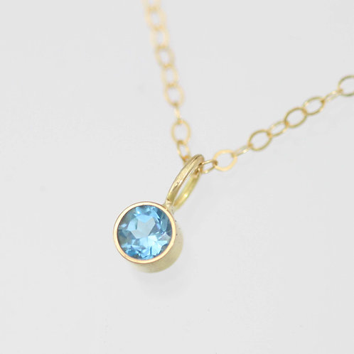 Blue Topaz Drop Necklace 4mm in 14ky Gold
