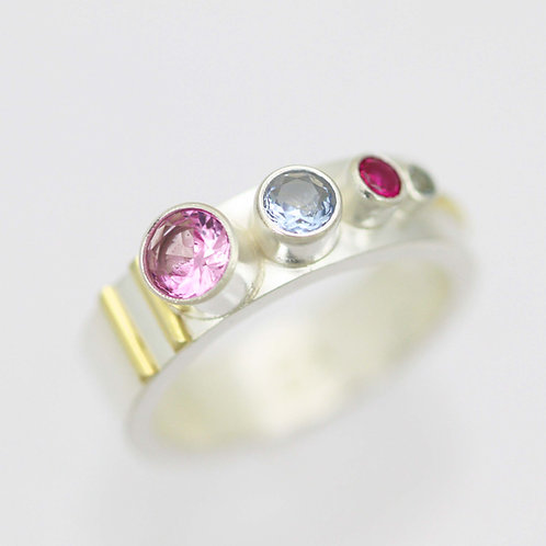 4 Stone Sequence Mother's Ring in Sterling Silver and 14ky Gold
