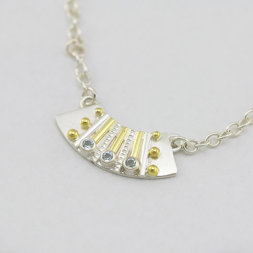 Striped Totem with 3 Stones Fan Neckpiece with Stone in Sterling Silver & 14k