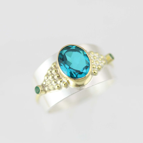 Byzantine Ring II in Sterling Silver and 14ky Gold