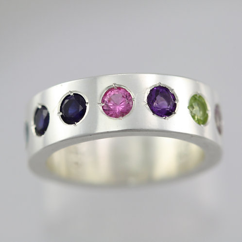 7 Stone Mother's Ring 6mm in Sterling Silver