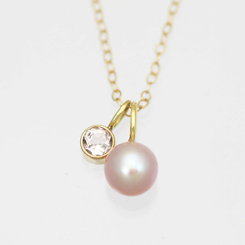 Pink Pearl & Morganite Drop Necklace in 14ky Gold