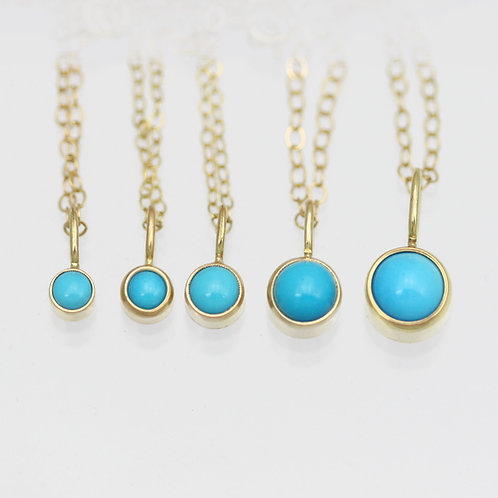 Turquoise Drop Necklaces in 14ky Gold