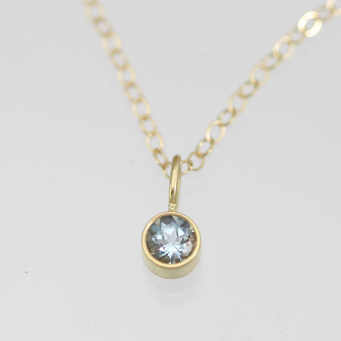 Aquamarine Drop Necklace 4mm in 14ky Gold