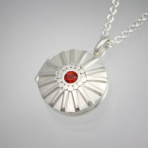 Sunburst Locket with Mexican Fire Opal in sterling silver, Small
