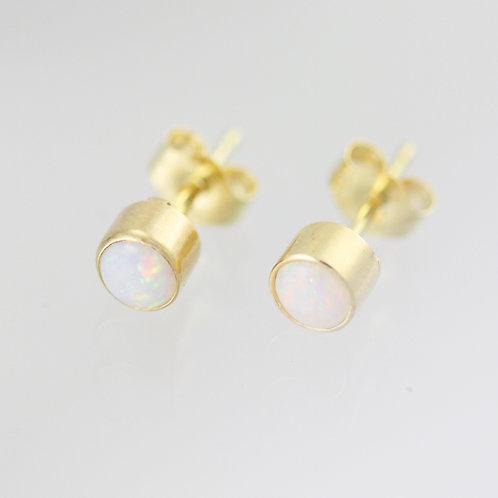 Opal Drop Studs 4mm in 14ky Gold