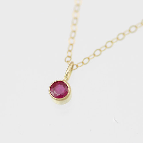 Ruby Drop Necklace 4mm in 14ky Gold