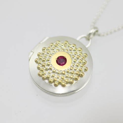 Clustered Sunburst Locket with Ruby in Sterling Silver & 14ky Gold