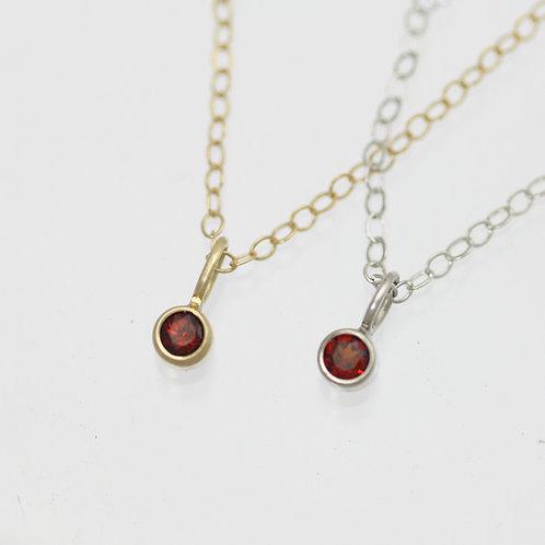 Garnet Drop Necklace 3mm in 14k Gold