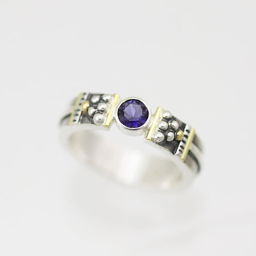 Totem Tension Ring with Iolite in Sterling Silver & 14ky Gol