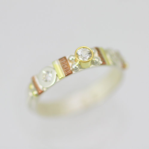 Totem Stacking Ring with White Topaz