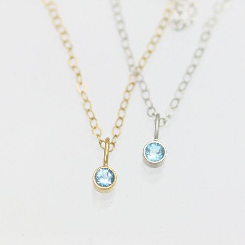 Blue Topaz Drop Necklace 3mm in 14k Gold