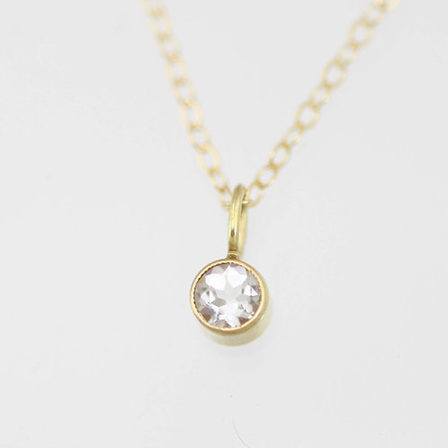 White Topaz Drop Necklace 4mm in 14ky Gold