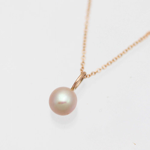 Pink Pearl Drop Necklace in 14k Rose Gold