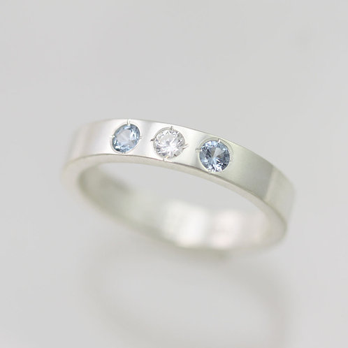 4mm Birthstone Mother's Ring in Sterling Silver
