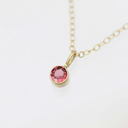 Pink Tourmaline Drop Necklace 4mm in 14ky Gold