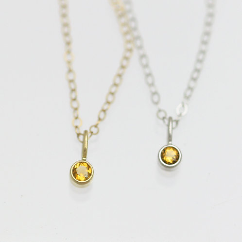 Citrine Drop Necklace 3mm in 14k Gold