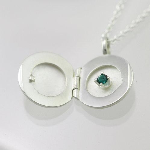 Locket with Birthstone in Sterling Silver, Small